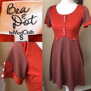 ModCloth Bea & Dot orange retro dress